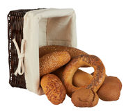 Group Of Different Bread Products In Basket Royalty Free Stock Image