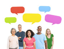 Free Group Of Diverse Cheerful People With Speech Bubbles Stock Photography - 41756122