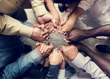 Free Group Of Diverse Hands Holding Each Other Support Together Teamwork Aerial View Stock Photography - 115358642
