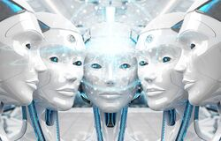 Free Group Of Female Robots Heads Creating Digital Sphere Network 3d Rendering Stock Image - 186933031