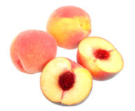 Group Of Four Yellow-red Peaches Royalty Free Stock Photos