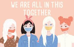Free Group Of Four Young Women Wearing Surgical Masks. Corona Virus 2019-nCov Motivation Poster Design With Positive Message Royalty Free Stock Photography - 176944727