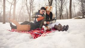Free Group Of Friends Enjoying In The Snow In Winter Stock Photography - 160755192