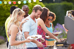 Free Group Of Friends Having Outdoor Barbeque At Home Royalty Free Stock Photo - 35610335