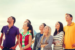 Free Group Of Friends Looking Up On The Beach Royalty Free Stock Photo - 40263235