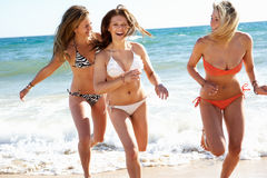 Free Group Of Girls On Beach Holiday Stock Photography - 26614062