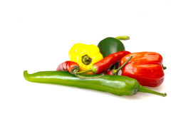 Group Of Green, Red And Yellow Chilli Peppers. Stock Photo