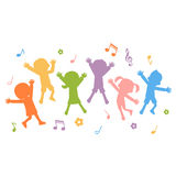Group Of Hand Drawn Children Silhouettes Jumping Stock Photography