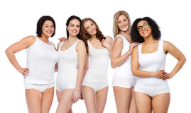 Free Group Of Happy Different Women In White Underwear Stock Images - 70838434