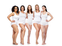 Free Group Of Happy Different Women In White Underwear Stock Image - 70894071