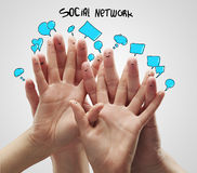 Free Group Of Happy Finger Smileys With Social Chat Sig Stock Photography - 21619642
