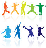 Group Of Happy School Active Children Silhouette Jumping Dancing Playing Running Healthy Kids Child Kid Kinder Action Youth Play