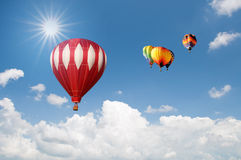 Group Of Hot Air Balloons Over Beautiful Sky Royalty Free Stock Photos