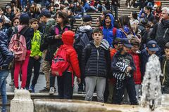 Free Group Of Italian Kids Visiting The Spanish Steps In Rome In A School Trip Royalty Free Stock Photography - 145419457