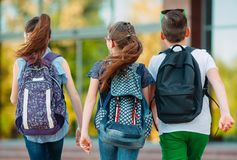 Free Group Of Kids Going To School Together. Royalty Free Stock Photography - 155651097