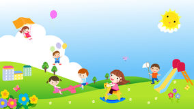 Free Group Of Kids Having Fun And Banner Stock Images - 38423774