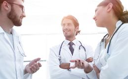 Group Of Medicine Doctors Talking During Conference, Bottom View Royalty Free Stock Photos