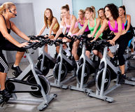 Group Of People Doing Exercise On A Bike Royalty Free Stock Photos