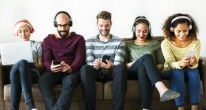 Free Group Of People Enjoying Music Streaming Stock Photography - 116684552
