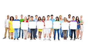 Free Group Of People Holding 8 Empty Placards Stock Photos - 39389333