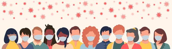 Free Group Of People In Protective Masks And Flying Coronavirus In Flat Style. Men And Women Wearing Medical Masks To Prevent Royalty Free Stock Images - 180010359
