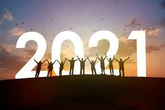 Group Of People Rise Arm Up With 2021 Stock Photo