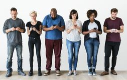 Free Group Of People Using Mobile Phone Royalty Free Stock Image - 111362086
