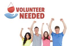 Free Group Of People With Volunteer Needed Text And A Blood Donation Graphic Royalty Free Stock Photo - 100268885