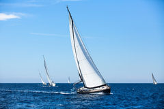 Group Of Sail Yachts In Regatta In Open The Sea. Boat In Sailing Regatta. Royalty Free Stock Images