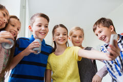 Free Group Of School Kids With Smartphone And Soda Cans Royalty Free Stock Images - 50590469