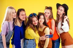 Free Group Of Six Laughing Girls Having Party Summer Style Yellow Background Studio Royalty Free Stock Image - 161262656