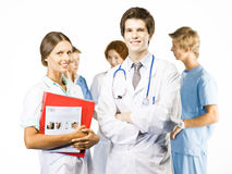 Group Of Smiling Doctors On White Background Stock Image