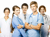 Group Of Smiling Doctors On White Background Stock Photography