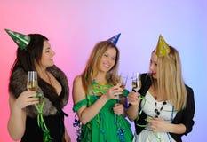 Group Of Three Beautiful Elegant Woman Celebrating Stock Photography