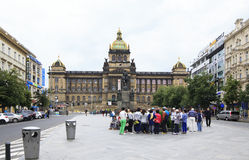 Group Of Tourists Near National Museum Of Prague. Stock Image