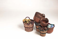Group Of Wicker Baskets On White Background Stock Photos