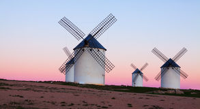 Free Group Of Windmills At Field In Twilight Royalty Free Stock Photos - 52857198