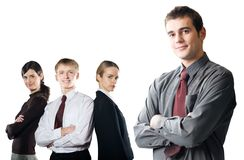 Group Of Young Business People Isolated On White Royalty Free Stock Images