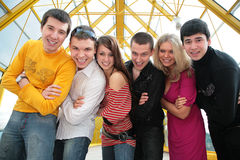 Free Group Of Young Friends On Footbridge Royalty Free Stock Photos - 5452068