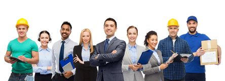 Group of office people and manual workers royalty free stock photo