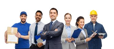 Group of office people and manual workers royalty free stock images