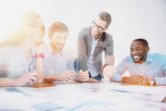 Group of office workers during meeting. Royalty Free Stock Image