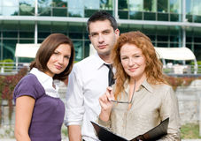 Group of office workers outdoor Royalty Free Stock Image