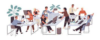 Group of office workers sitting at desks and communicating or talking to each other. Dialogs or conversations between. Colleagues or clerks at workplace. Flat stock illustration