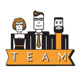Group of office workers. Team. A group of office workers. Three smiling people. Flat style stock illustration