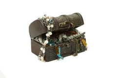 A group ofl jewelry in wooden chest Royalty Free Stock Photo
