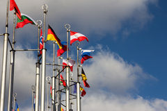 Group og Europeans flag. Outdoors, on sky background Royalty Free Stock Images