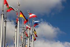 Group og Europeans flag Royalty Free Stock Images