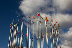 Group og Europeans flag. Outdoors, on sky background Stock Photography