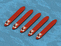 Group oil tankers aerial view. 3d rendering royalty free illustration